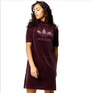Adidas Originals Velvet Vibes Short Maroon Dress